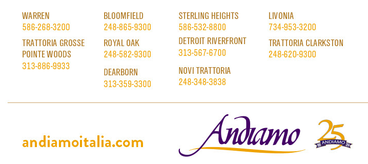Andiamo restaurant coupons michigan
