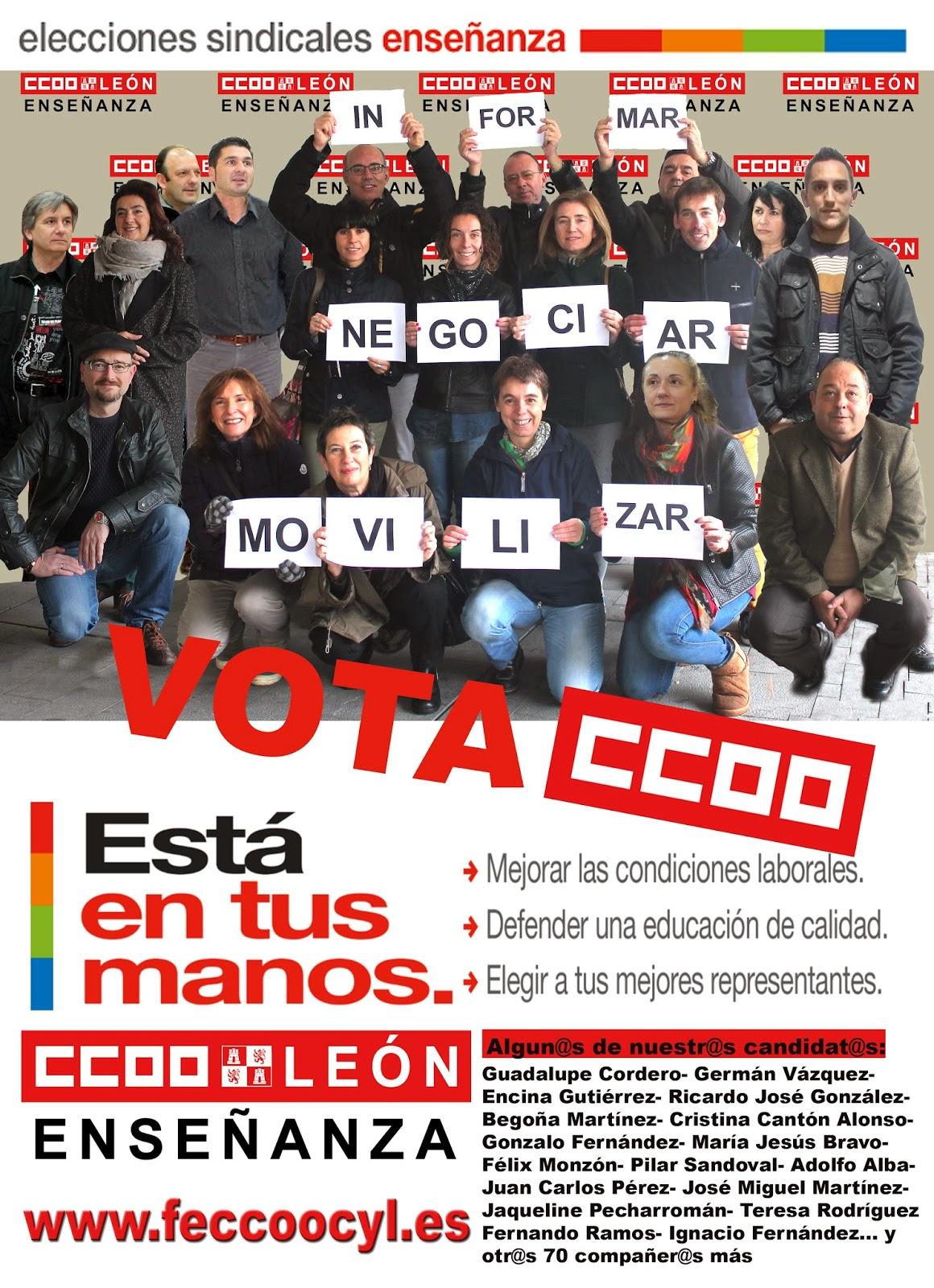 Sindicato de ense anza ccoo le n cartel y video electoral for Ccoo ensenanza exterior