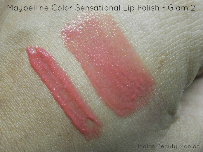 Maybelline Color Sensational Lip Polish in Glam 2 swatch and review