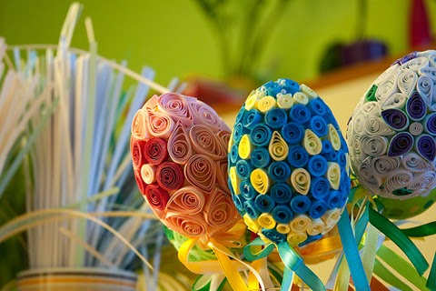 beautifully arranged Easter eggs