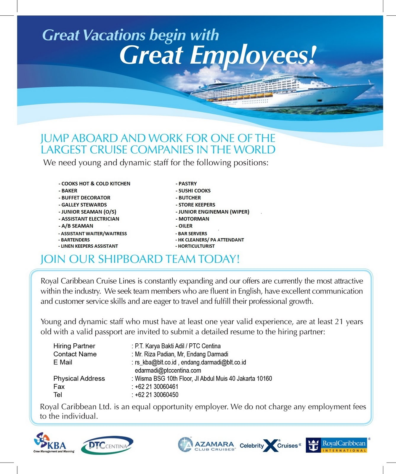 Open recruitment for royal caribbean and celebrity cruise lines open recruitment for royal caribbean and celebrity cruise lines falaconquin