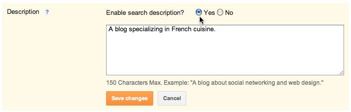 Chức năng thêm mô tả cho blog của Blogger