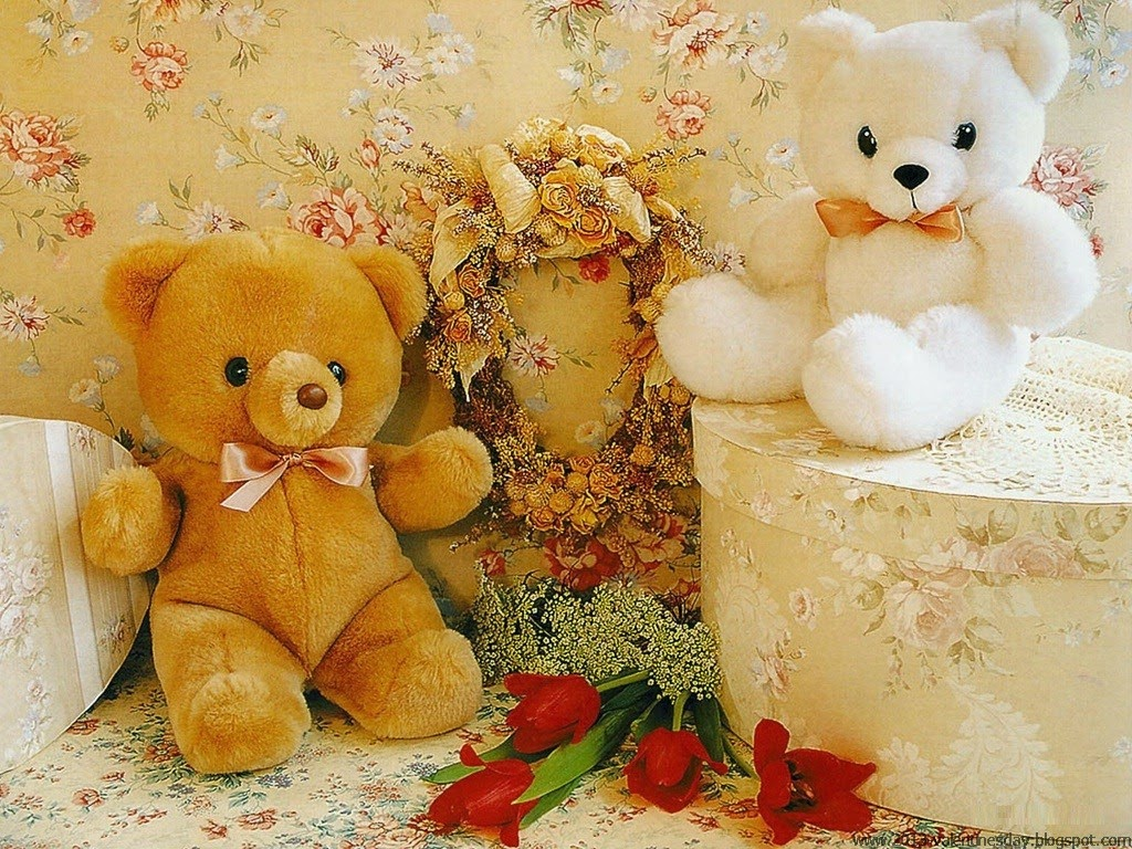 beautiful flower wallpapers for you: teddy bear with flowers wallpapers