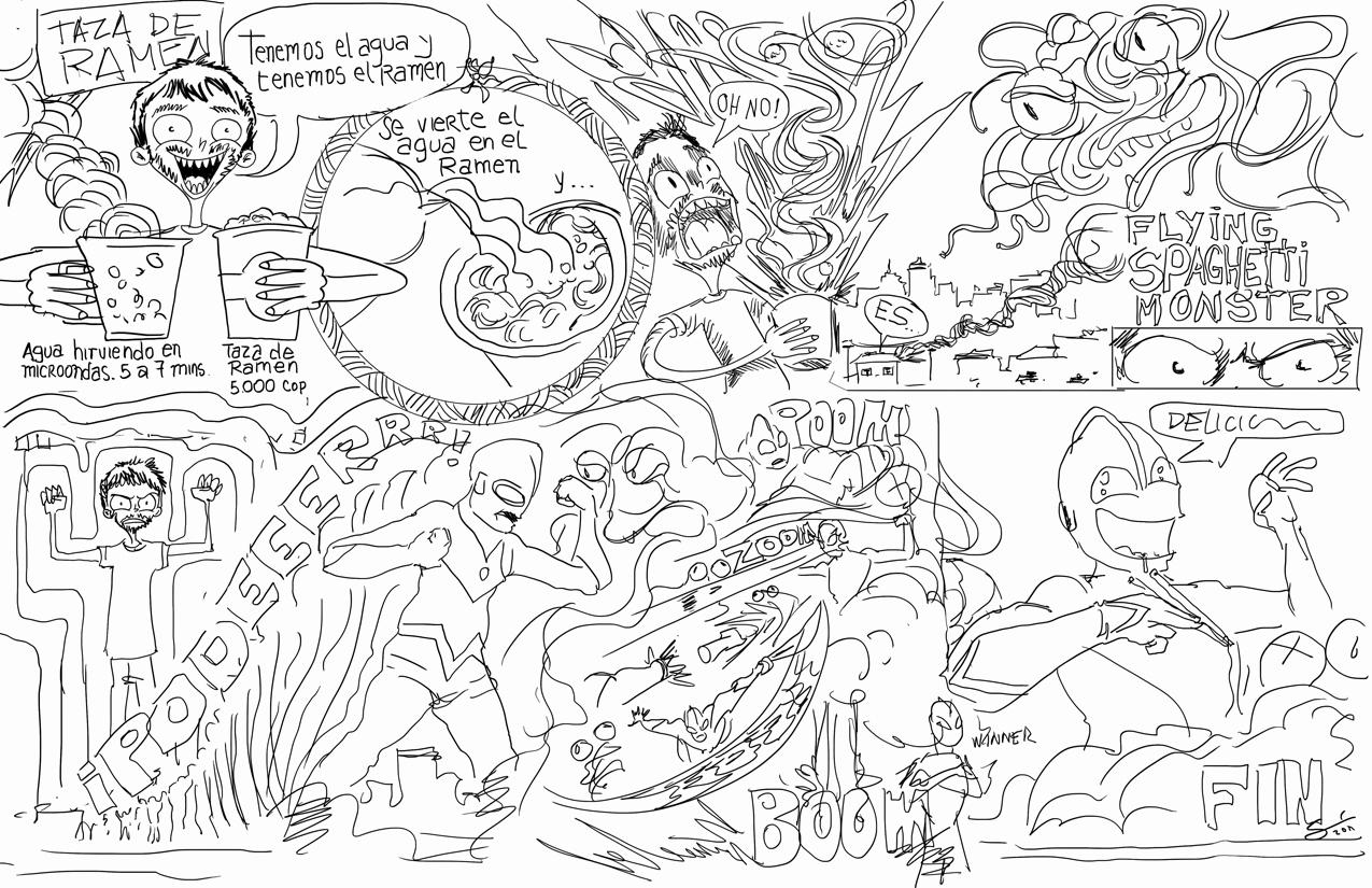 Initial Sketch Ultraman vs Noodles