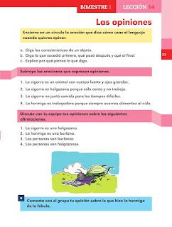 Apoyo Primaria Español 2do grado Bloque 1 lección 14 Las opiniones