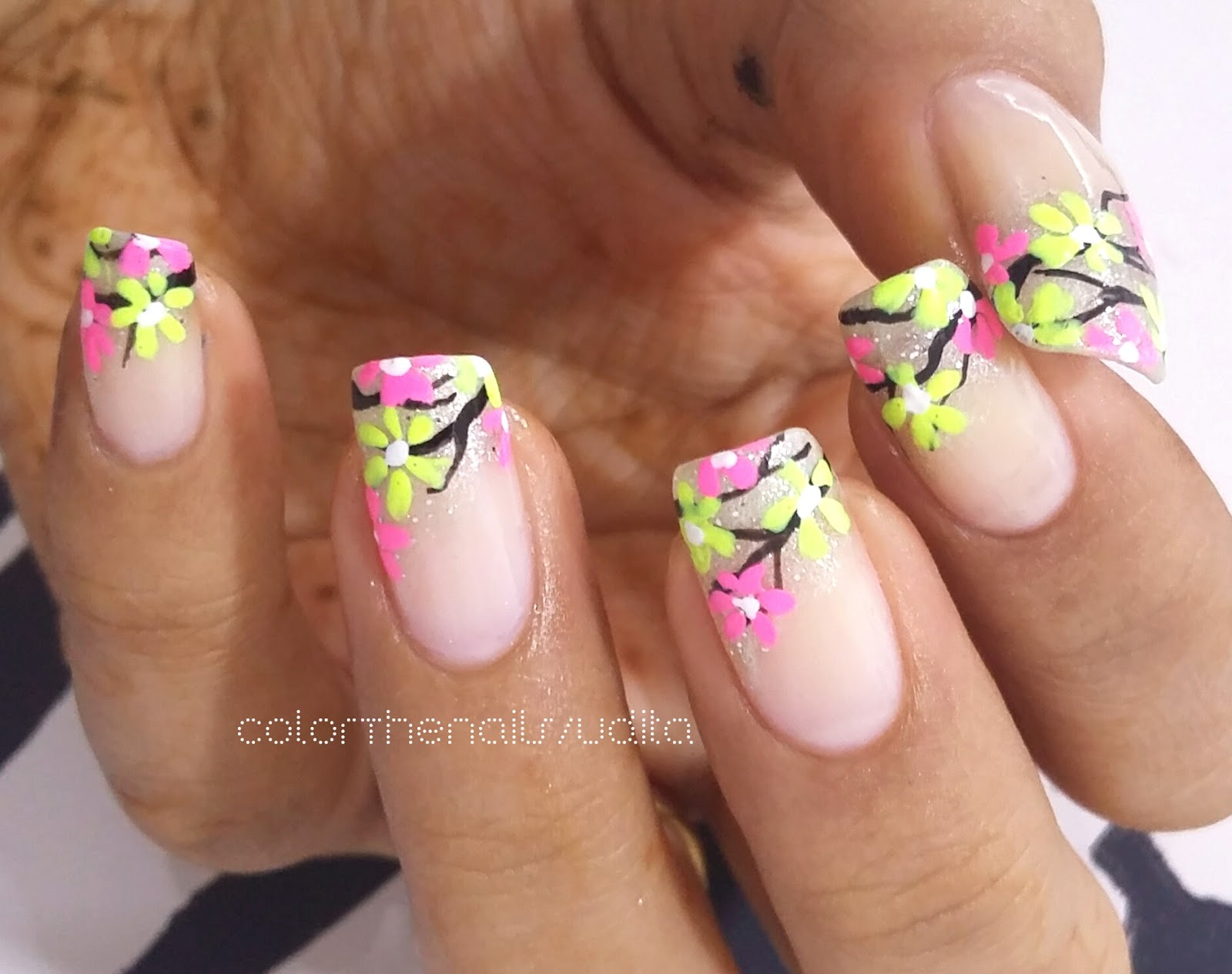 Neon Flowers Nail Art   Color The Nails