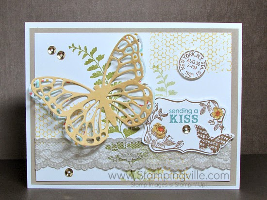 Double layer die-cut butterfly + sequins + lace trim! Ooh La La!! #papercrafts #cardmaking #StampinUp