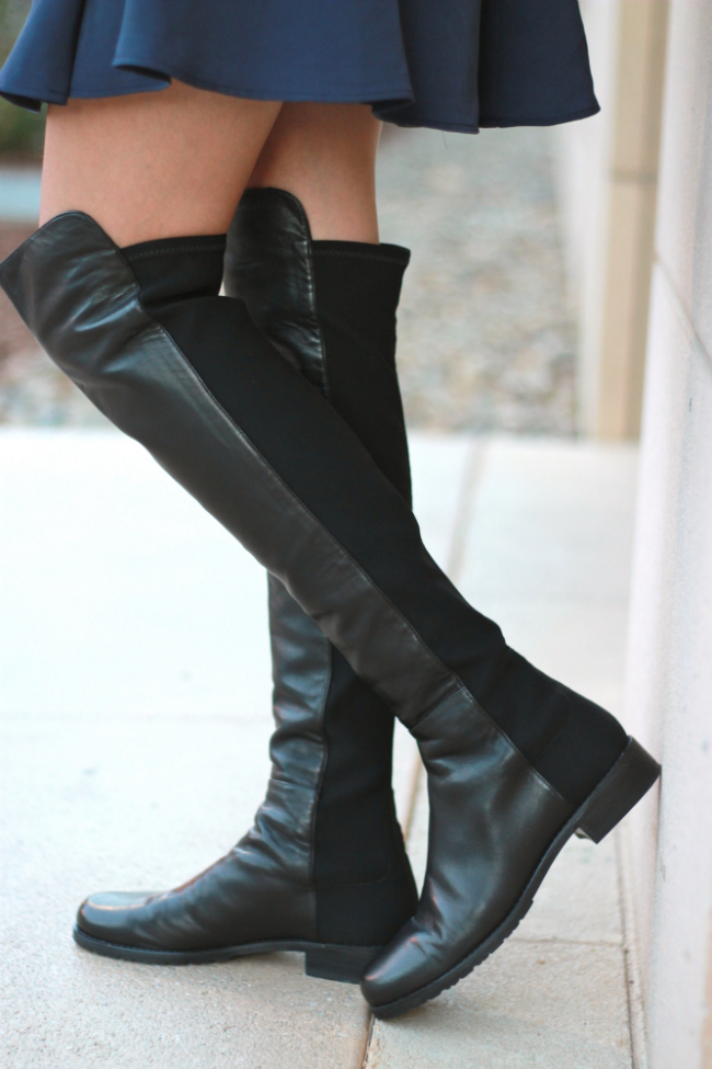 stuart weitzman 5050 leather over-the-knee boots flats