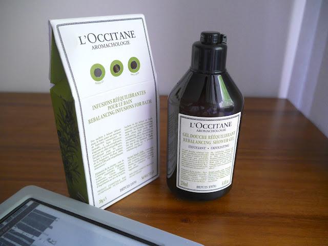 l'occitane rebalancing range rebalancing infusions for bath and exfoliating shower gel review