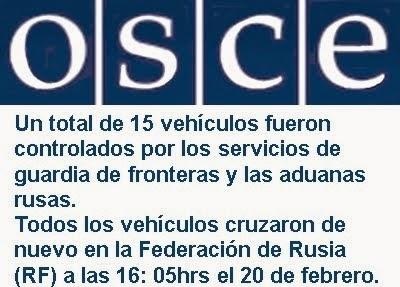 MUNDO: OSCE: Convoy ruso de 15 vehículos cruzó en Ucrania y regresó.