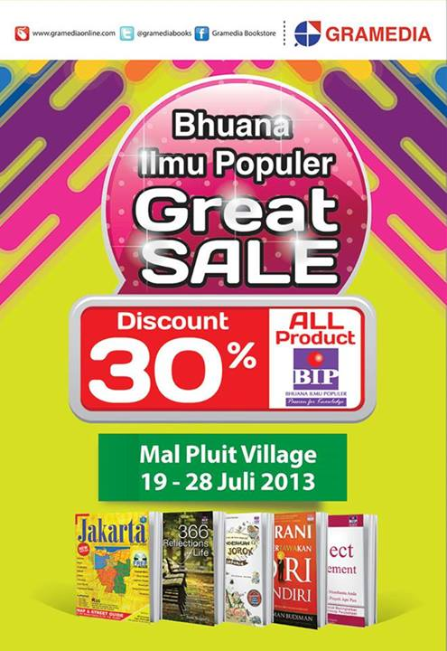 Promo Gramedia BIP Great Sale Discount 30% All BIP Product