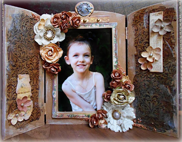 Scraps of Darkness scrapbook kits: Tracey Gregory created this western style shabby chic altered photo frame with our Sept. Tanya's Industrial Odyssey Kit.