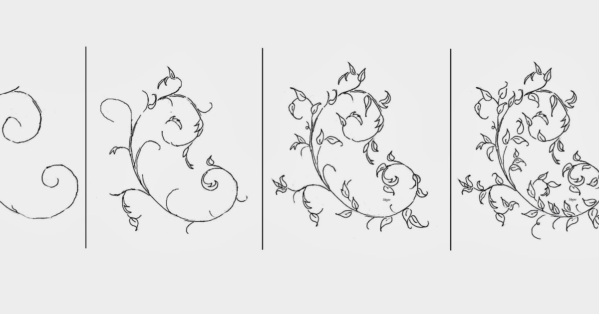 how to draw scrolls engraving