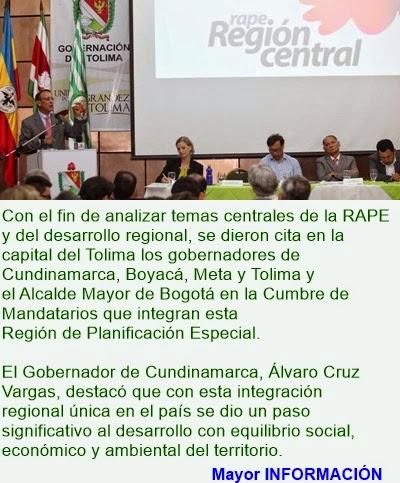 CUNDINAMARCA: RAPE REGIÓN CENTRAL, OPORTUNIDAD PARA LA PAZ Y EL DESARROLLO REGIONAL