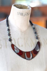 Inlaid Wooden Tribal style necklace