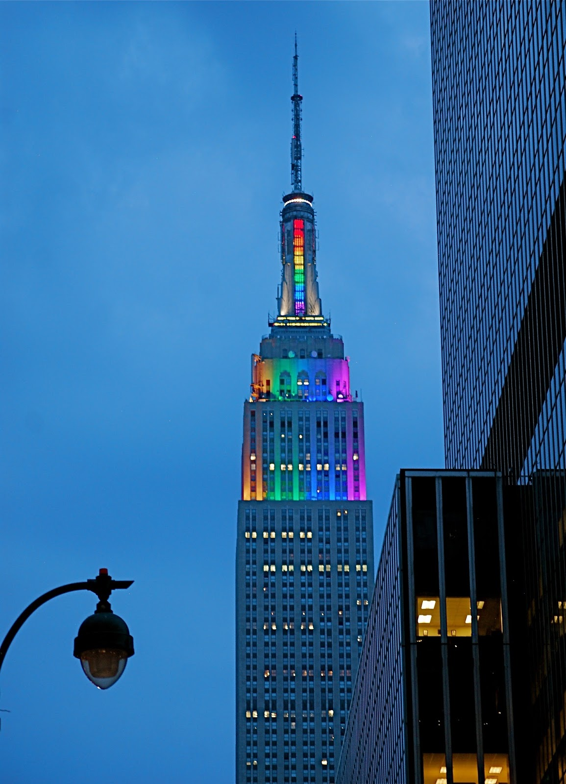 The Empire State Building Top Tier Lights Up In Rainbow Colors In Honor Of  Pride Week 2013