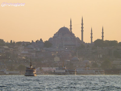 Istanbul profilo battello Bosforo tramonto