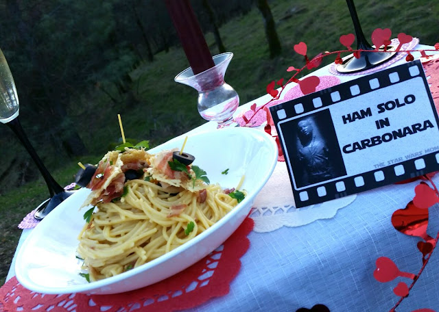 Ham Solo in Carbonara (Han Solo in Carbonite) aka Spaghetti alla Carbonara Star Wars Romantic, Valentine's, or Party Food (Free Printable below)
