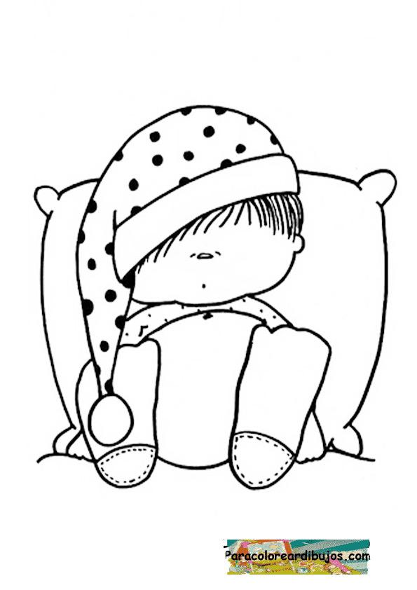 dibujo de nene con sueno colorear | Para colorear dibujos y dibujos