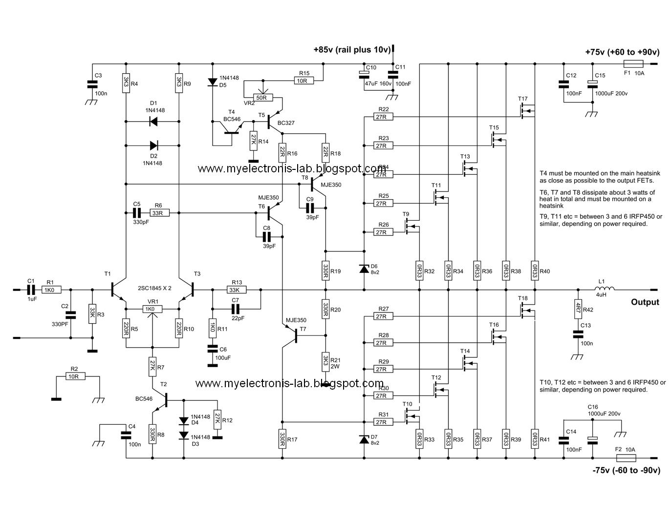 600 watt mosfet power amplifier circuits circuit schematic diagram