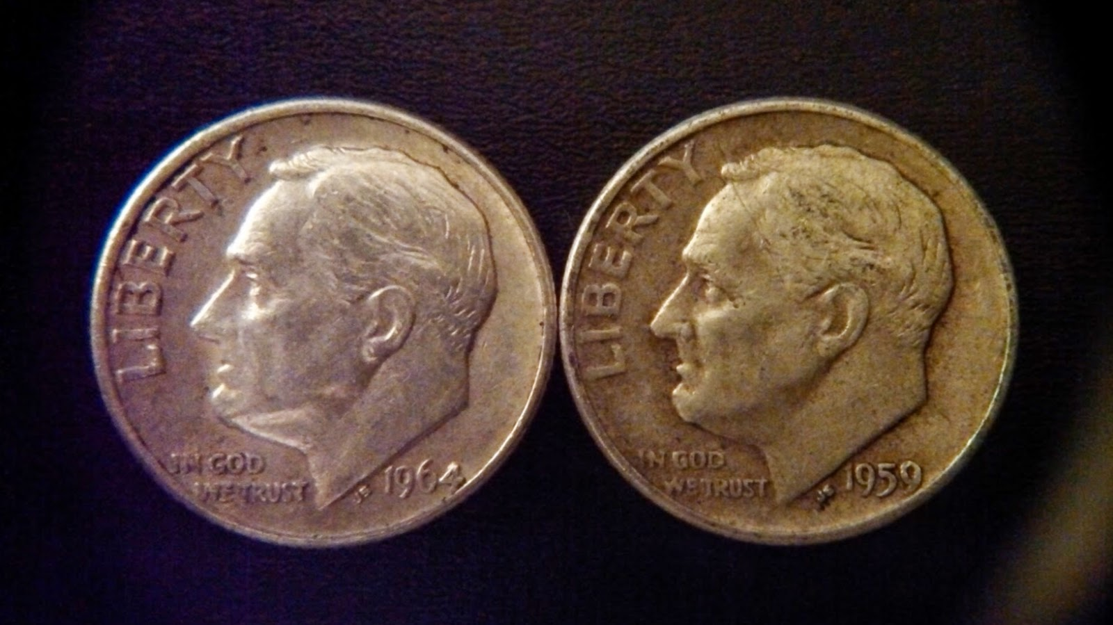 1964 and 1959 silver dimes found coin roll hunting