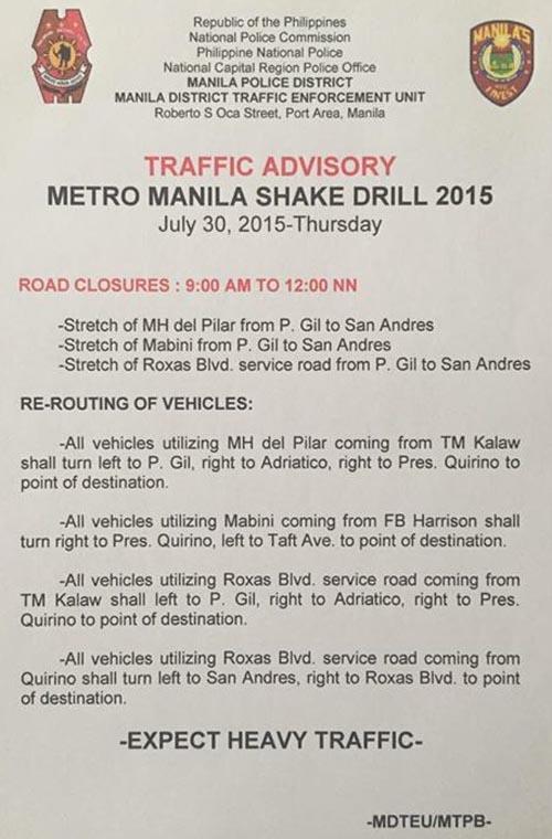 Manila quake drill 2015 traffic advisory