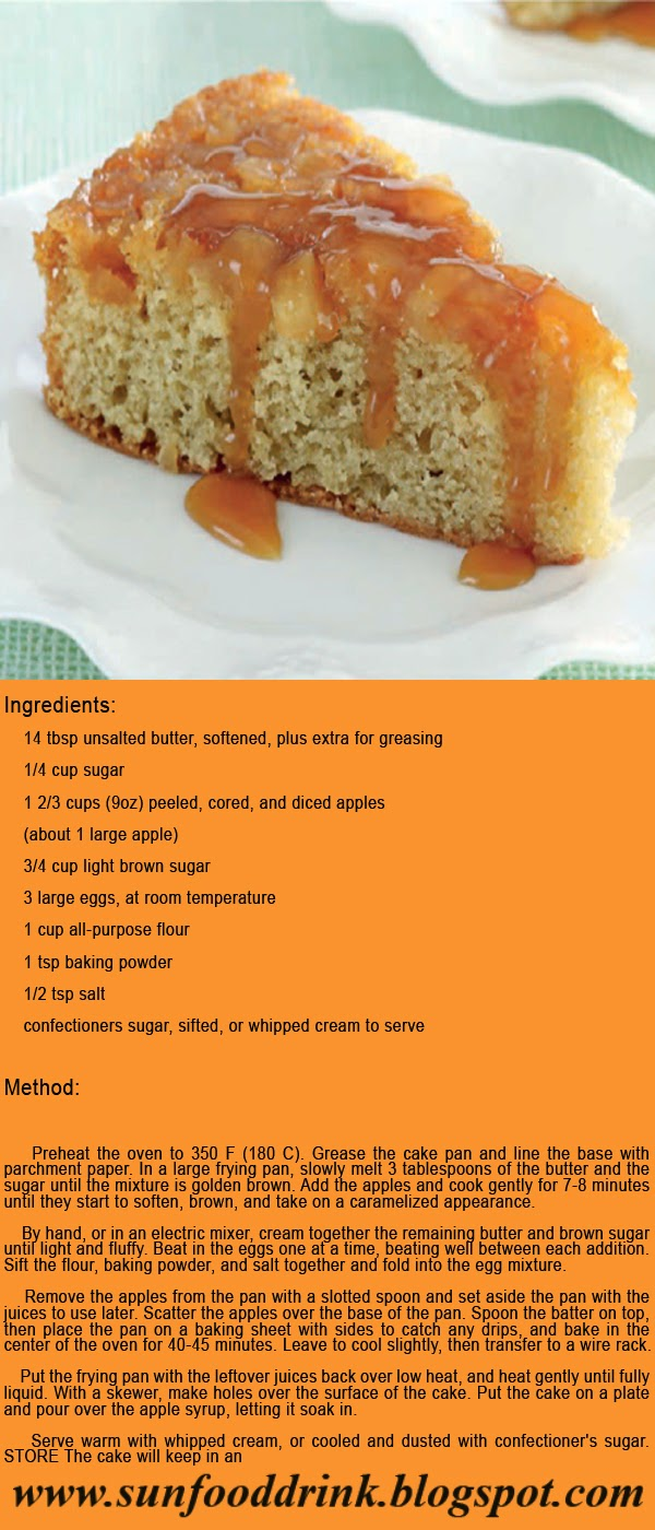 Toffee Apple Cake Recipe Ingredients:  14 tbsp unsalted butter, softened, plus extra for greasing 1/4 cup sugar 1 2/3 cups (9oz) peeled, cored, and diced apples (about 1 large apple) 3/4 cup light brown sugar 3 large eggs, at room temperature 1 cup all-purpose flour  1 tsp baking powder 1/2 tsp salt confectioners sugar, sifted, or whipped cream to serve   Method:     Preheat the oven to 350 F  (180 C).  Grease  the  cake  pan  and  line  the  base  with  parchment  paper. In  a large  frying pan, slowly melt  3 tablespoons of the butter and the sugar until the mixture is golden brown. Add the apples and cook gently for 7-8 minutes until they start  to soften, brown, and take on a caramelized appearance.  By hand, or in an electric mixer, cream together the remaining butter and brown  sugar until light  and fluffy. Beat in the  eggs one at a time,  beating well between each addition. Sift the flour, baking powder, and salt together and fold into the egg mixture.  Remove the apples from the pan with a slotted spoon and set aside the pan with the juices to use later. Scatter the apples over the base of  the pan. Spoon the batter on top, then place the pan on a baking sheet with sides to catch any drips, and bake in the center of the oven for  40-45 minutes. Leave to cool slightly, then transfer to a wire rack. Put the frying pan with the leftover juices back over low heat, and heat gently until fully liquid. With a skewer, make holes over the surface of  the cake. Put the cake on a plate and pour over the apple syrup, letting it soak in. Serve warm with whipped cream, or cooled and dusted with confectioner's sugar. STORE The cake will keep in an