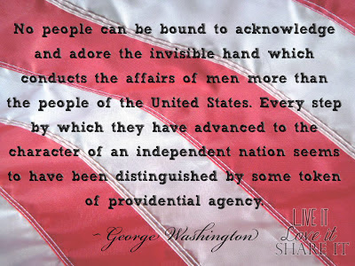 No people can be bound to acknowledge and adore the invisible hand which conducts the affairs of men more than the people of the United States. Every step, by which they have advanced to the character of an independent nation, seems to have been distinguished by some token of providential agency. - George Washington