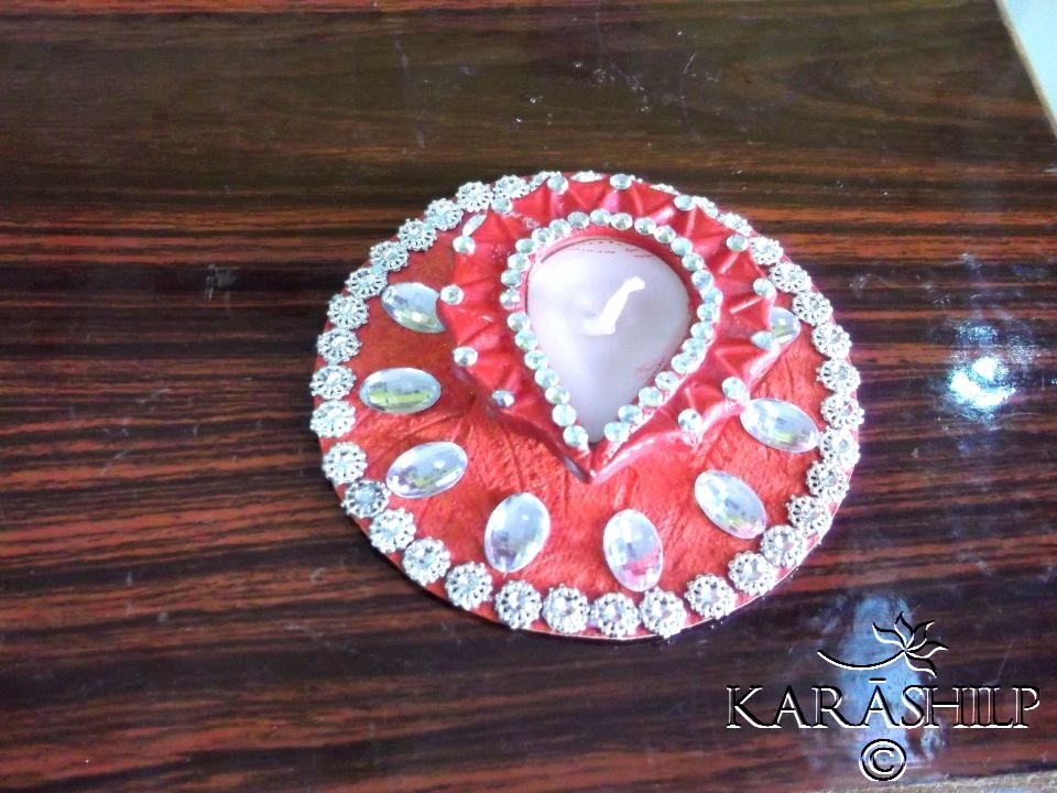 Diya decoration with waste material the for Diwali decoration material