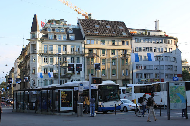 The city of Lucerne and reliable public transportation in Lucerne, Switzerland