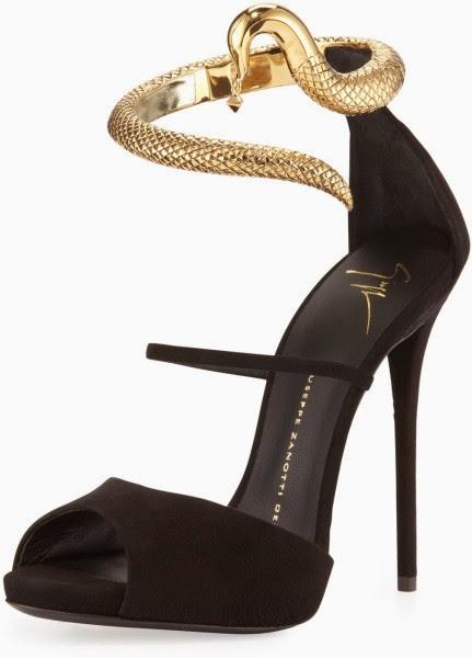 Giuseppe Zanotti black snake ankle wrap suede sandal