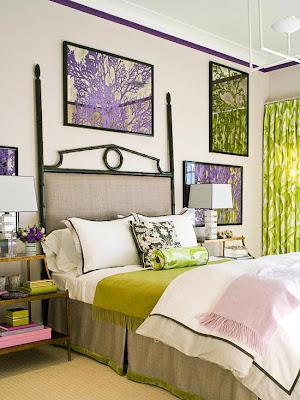 habitación con toques verdes