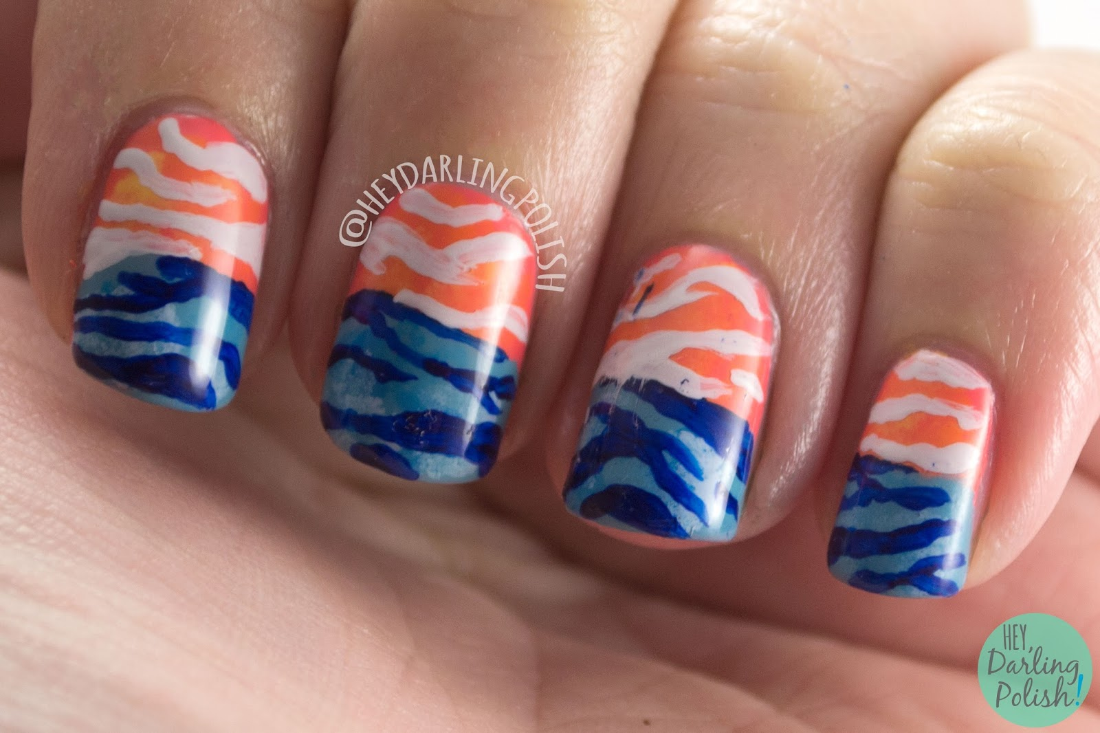 nails, nail art, nail polish, hey darling polish, blue, orange, stripes, zebra, 2015 cnt 31 day challenge, pattern