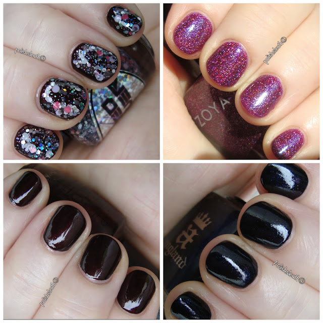aEngland's Lady of Shalott, OPI's Midnight in Moscow,KB Shimmer's PT Young Thing, Loaded Lacquer's Fade to Pink