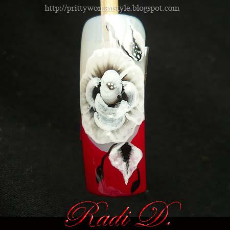 Червен Френски маникюр с декорация Бяла Роза