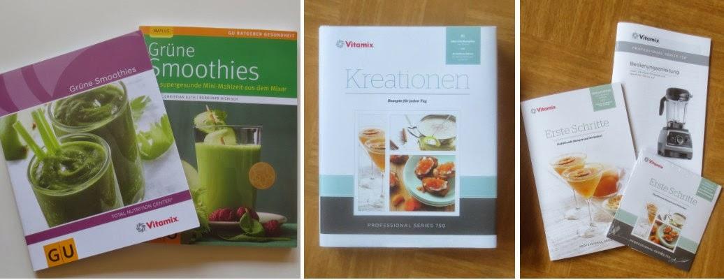 Bücher und Material zu Vitamix (das zweite Buch von links war nicht dabei)