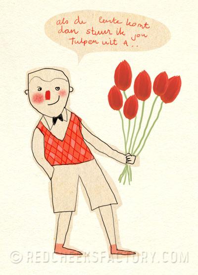 jongen met een bos tulpen uit Amsterdam, ode aan Herman Emmink