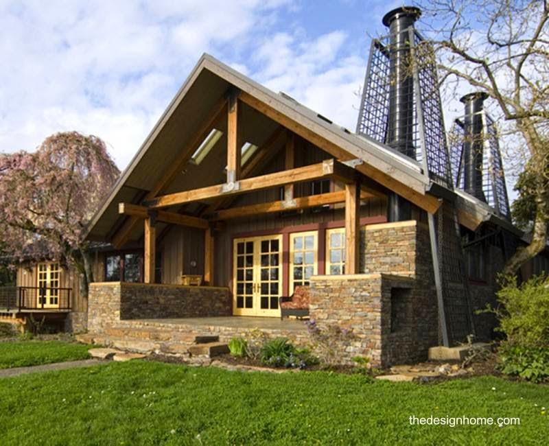Modelo de cabaña de madera y piedra en Oregon Estados Unidos