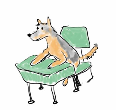 cartoon of dog sitting at school desk