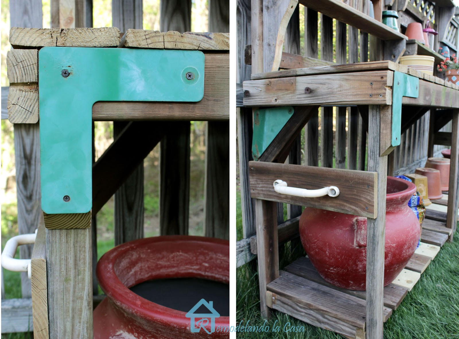 metal parts of a playset used as decor on potting bench