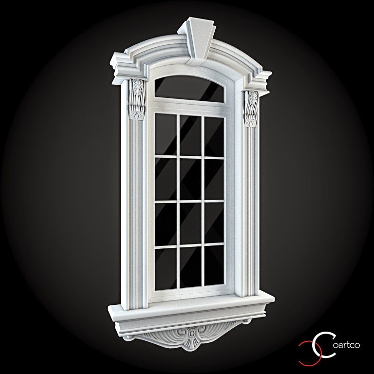 Ornamente Geamuri Exterior, fatade case cu profile decorative polistiren, profile fatada,  Model Cod: WIN-040