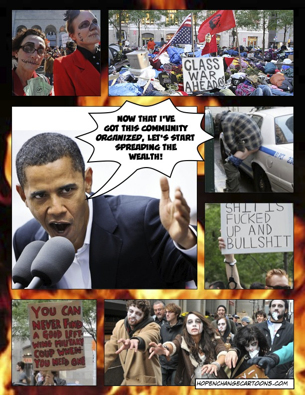 Community Organizer Barack Obama encourages the Occupy Wall Street protesters to riot and eat the rich