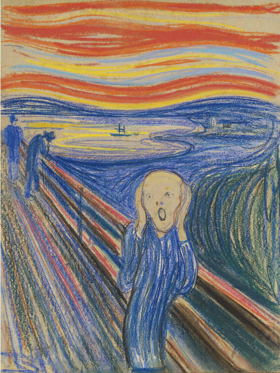 the scream painting The scream is one of the world's most recognizable works of art it depicts a man in a private moment of anguished despair and anxiety, while the other people in.