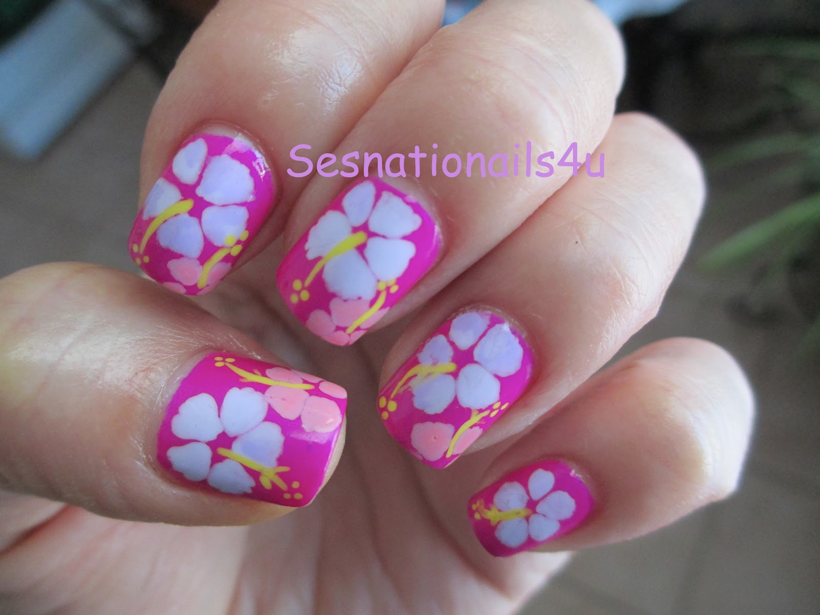Hibiscus Nail Art Design