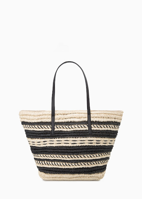 Mango Striped Straw Bag