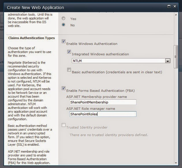 Create New Web Application SharePoint 2010