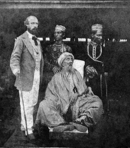 Last Mughal Emperor Bahadur Shah Zafar Rare Pic in exile in Burma in the aftermath of the Indian Mutiny (1857-1859)