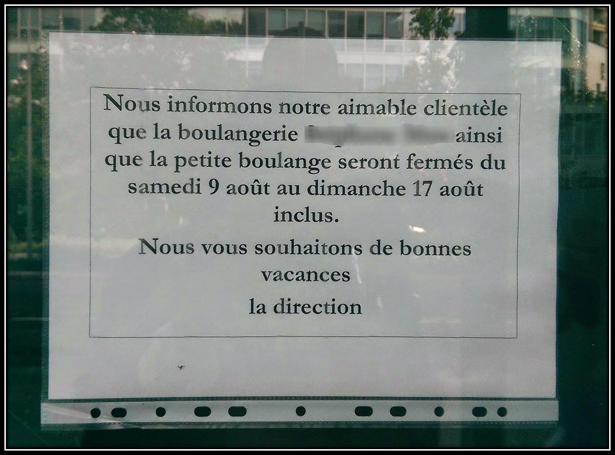 magasin fermé en aout boulangerie Paris désert galère