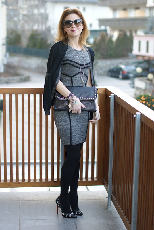 Guess dress, studded pumps, Maison Scotch cardigan