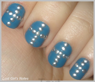 metal cross stud rhinestones nail art